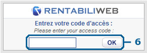 Internet+ rebilling, Step 6 : access code entry