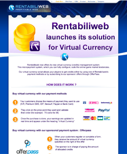 Micropayment solutions, newsletter : Rentabiliweb launches its Virtual Currency