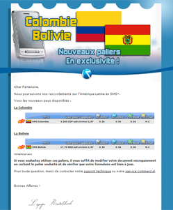 micropaiement newsletter : Micropaiement Colombie et Bolivie disponibles !