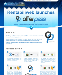 Micropayment solutions, newsletter : OfferPass : the first sponsored payment platform in France