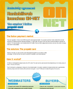 micropayment newsletter : Italian Micropayment – OnNET prepaid card !