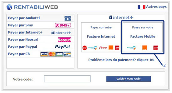 MPME, classic mobile Internet+ micropayment step 2 : Mobile Internet+ choice