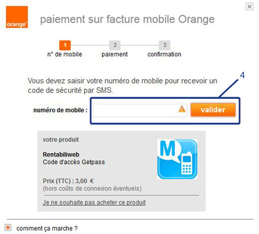 MPME, mobile Internet+ micropayment for virtual currency, step 4 : phone number typing