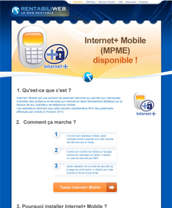 micropaiement newsletter : MPME, Internet+ mobile disponible