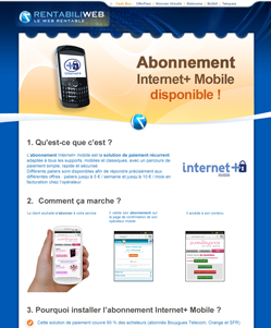 Solutions de micropaiement, newsletter : Abonnement Internet+ mobile disponible